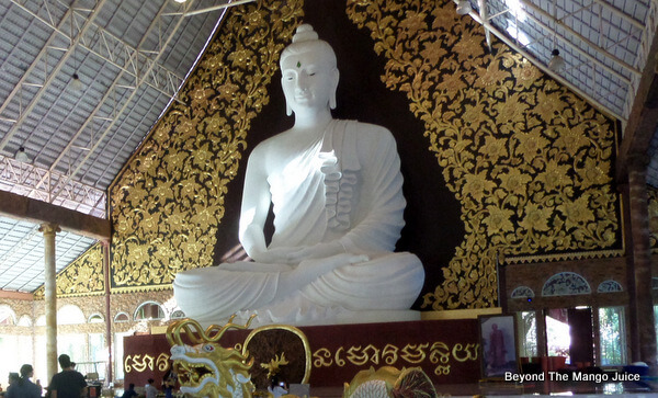Close-up of the white statue of Buddha, Wat Pa Huay Lad